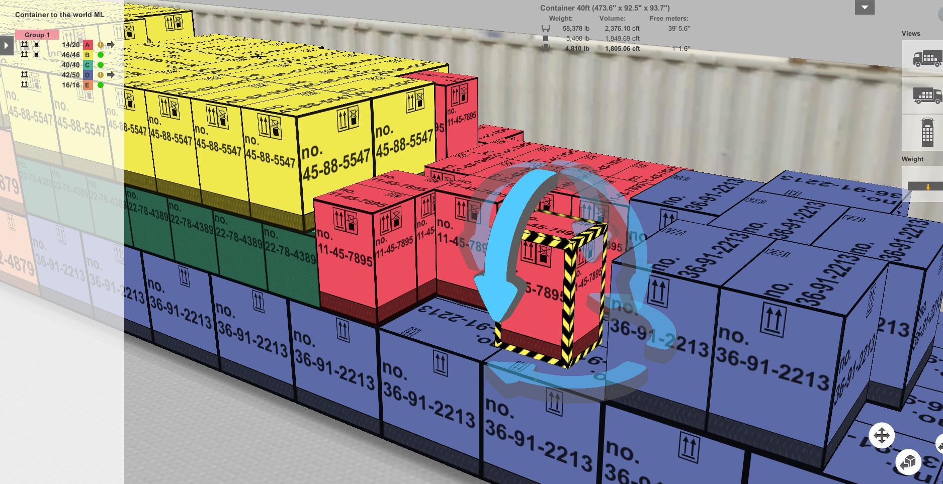 EasyCargo - o editor «drag-and-drop» permite movimentar os volumes dentro do espaço de carga